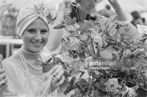 British actress Julia Goodman at the Chelsea Flower Show in London, UK, 22nd May 1974.