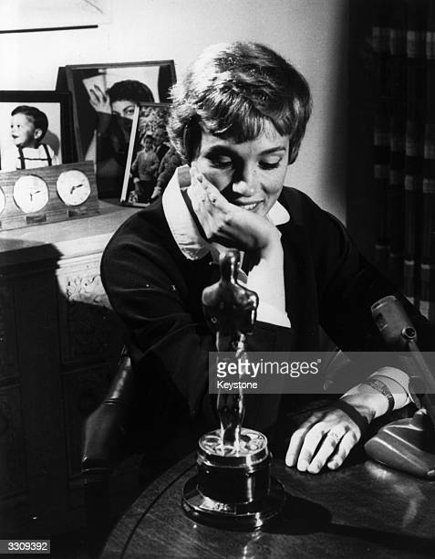 British actress Julie Andrews with the Academy Award she won for 'Mary Poppins' her film debut