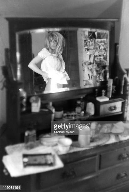 British actress Julie Christie reflected in the mirror of her dressing room 1963