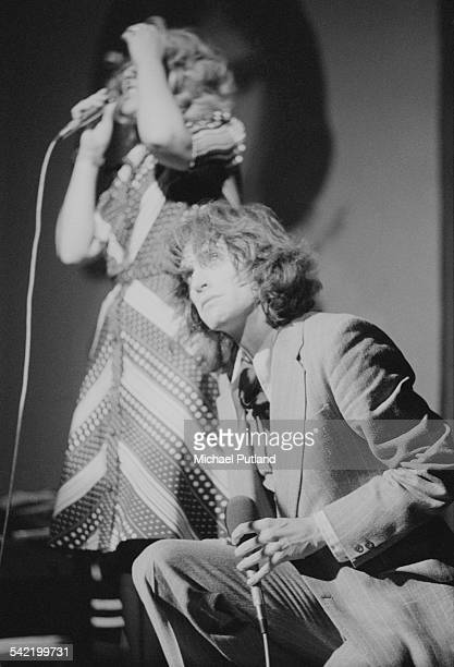 British actress June Ritchie as Andrea and Ray Davies as Norman in a live performance of the Kinks' concept musical 'A Soap Opera' at the New...