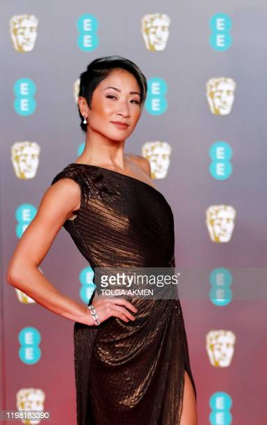 British actress Kae Alexander poses on the red carpet upon arrival at the BAFTA British Academy Film Awards at the Royal Albert Hall in London on...