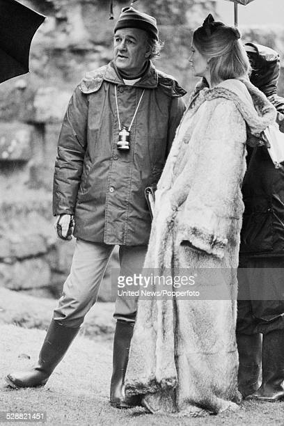 British actress Karen Dotrice talks with director Don Sharp on set during filmimg of the feature film The ThirtyNine Steps in Dumfries Scotland on...