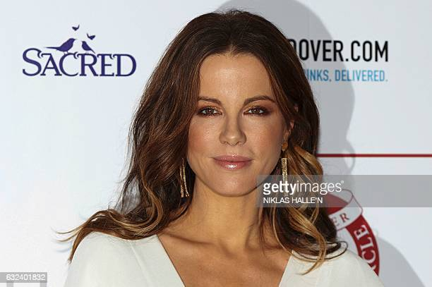 British actress Kate Beckinsale poses on the red carpet arriving to attend the London Critics' Circle Film Awards in London on January 22 2017 / AFP...