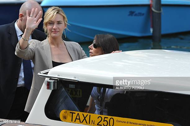 """British actress Kate Winslet arrives aboard a motorboat at the 68th Venice Film Festival on September 1, 2011at Venice Lido. """"Carnage"""" by film..."""