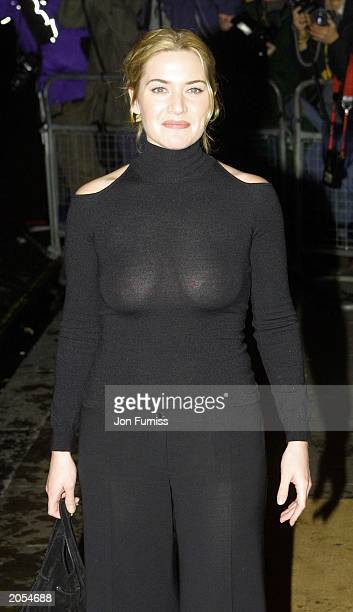 British actress Kate Winslet attends the 2002 Evening Standard Film Awards at the Savoy Hotel in London on February 3 2002