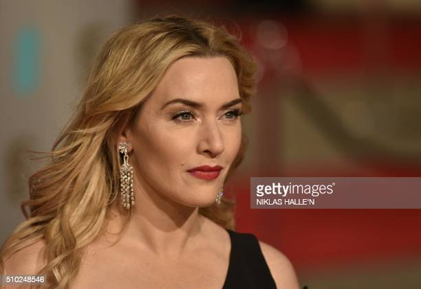 British actress Kate Winslet poses on arrival for the BAFTA British Academy Film Awards at the Royal Opera House in London on February 14 2016 N /...