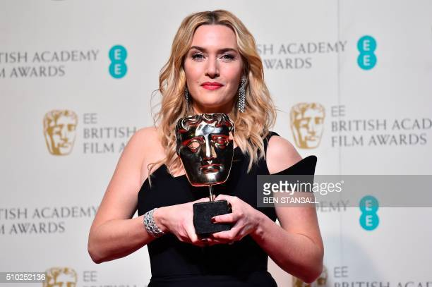 British actress Kate Winslet poses with the award for a supporting actress for her work on the film 'Steve Jobs' at the BAFTA British Academy Film...