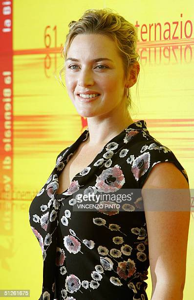 British actress Kate Winslett poses at the Venice Lido 04 September 2004 Depp is promoting director Mark Forster's out of competition movie Finding...