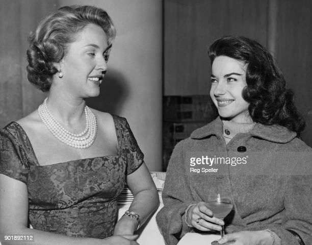 British actress Katie Boyle compere of the Eurovision Song Contest at the Royal Festival Hall in London with French singer Jacqueline Boyer during...