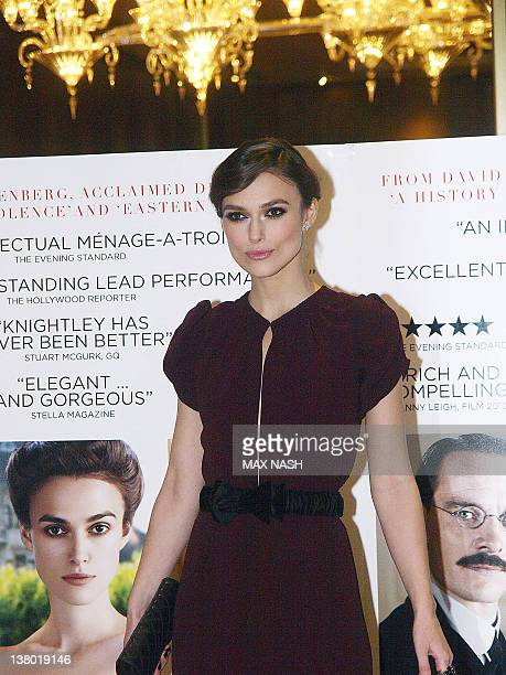 British actress Keira Knightley poses during a photocall at the Gala Premiere of her film A Dangerous Method in London's Mayfair on January 31 2012...