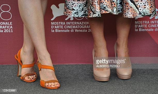 British actress Keira Knightley poses with Canadian actress Sarah Gadon during the photocall of A dangerous method at the 68th Venice Film Festival...
