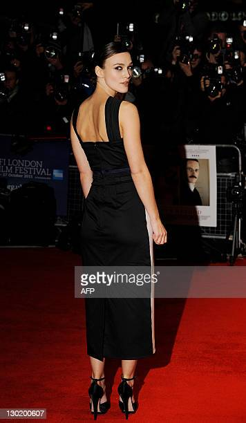 British actress Kiera Knightley poses for photographers at the premiere of The Dangerous Method at Leicester Square on October 24 2011 in London AFP...