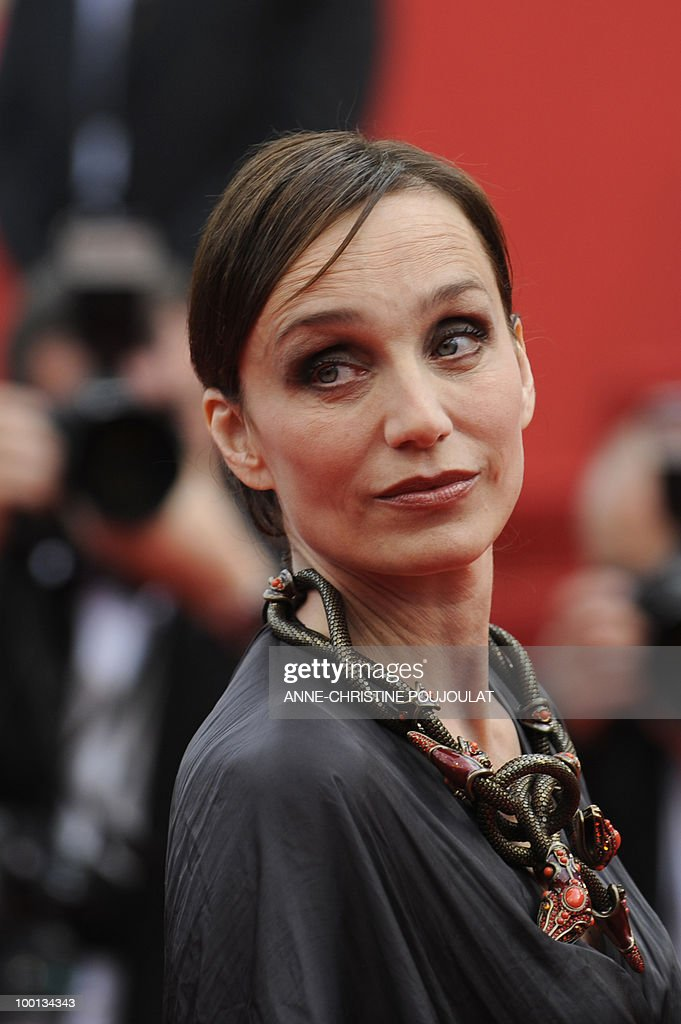 British actress Kristin Scott Thomas arrives for the screening of 'Hors La Loi' (Outside of the Law) presented in competition at the 63rd Cannes Film Festival on May 21, 2010 in Cannes.