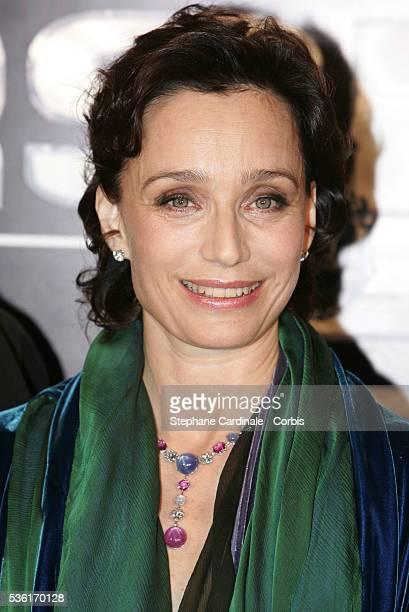 British actress Kristin Scott Thomas attends the premiere of JeanPaul Salomé's movie Arsène Lupin in Paris