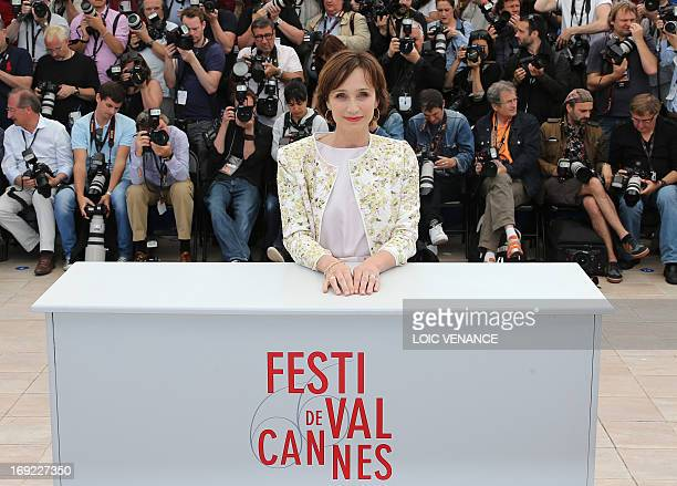 British actress Kristin Scott Thomas poses on May 22 2013 during a photocall for the film 'Only God Forgives' presented in Competition at the 66th...