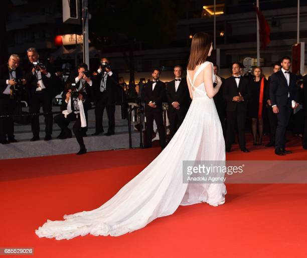 British actress Lily Collins leaves after the screening of the film 'Okja' in competition at the 70th annual Cannes Film Festival in Cannes France on...