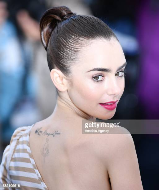 British actress Lily Collins poses during a photocall for the film 'Okja' in competition at the 70th annual Cannes Film Festival in Cannes France on...