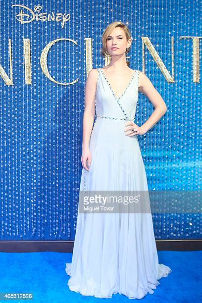 """British actress Lily James attends the Blue Carpet of Disney's new movie """"Cinderella"""" at Cinemex Antara on March 05, 2015 in Mexico City, Mexico."""