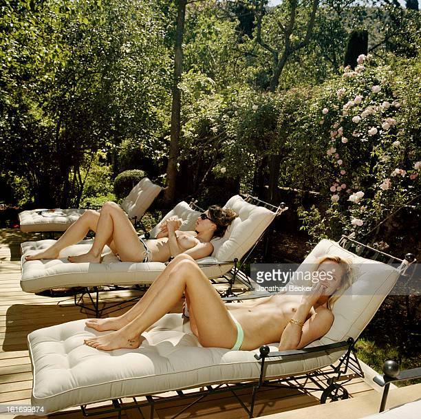 British actress Lily Robinson and French model Leah De Wavrin are photographed for Vanity Fair Magazine on May 11 2012 sunbathing at the Villa...