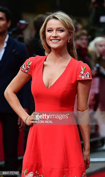 British actress Lily Travers poses for pictures as she arrives for the European Premiere of the film 'Me Before You' in central London on May 25 2016...