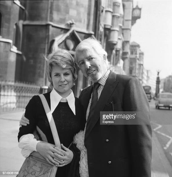 British actress Louie Ramsay with her husband Canadian actor and producer Ronan O'Casey outside the Royal Courts of Justice London UK 20th April 1973