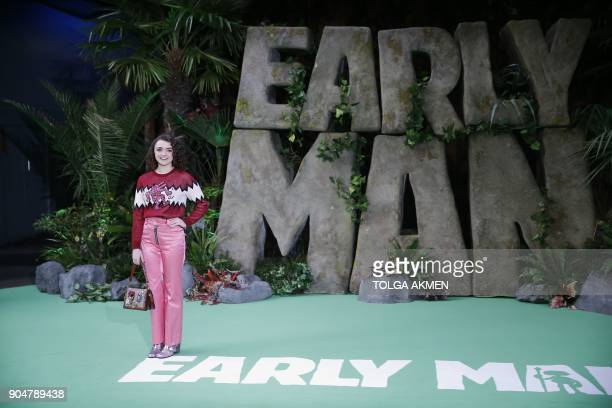 British actress Maisie Williams poses on the carpet arriving to attend the world premiere of the film Early Man in London on January 14 2018 / AFP...