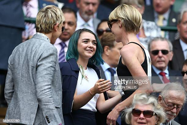 British actress Maisie Williams takes her seat in the royal box on centre court to watch the women's singles final between US player Serena Williams...