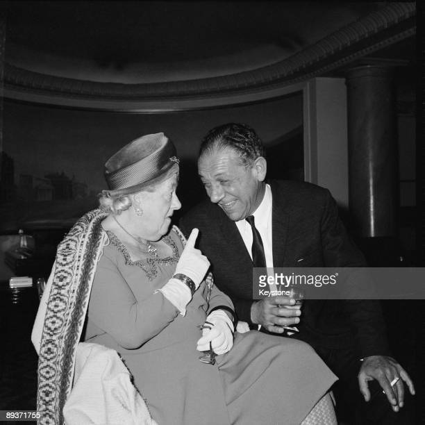 British actress Margaret Rutherford in conversation with actor Sid James at the Saville Theatre in London 12th April 1965 The two are about to appear...