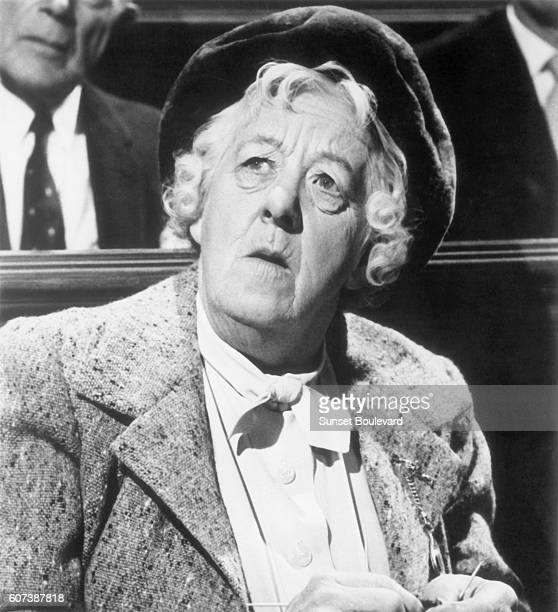 """British actress Margaret Rutherford on the movie set of """"Murder Most Foul"""" , directed by George Pollock."""