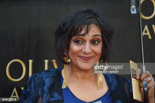 British actress Meera Syal poses on the red carpet upon arrival to attend The Olivier Awards at the Royal Albert Hall in central London on April 8...