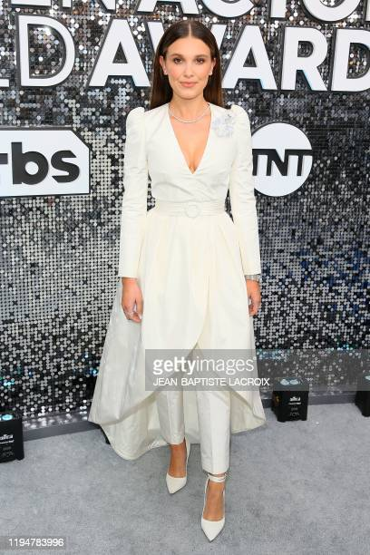 British actress Millie Bobby Brown arrives for the 26th Annual Screen Actors Guild Awards at the Shrine Auditorium in Los Angeles on January 19 2020