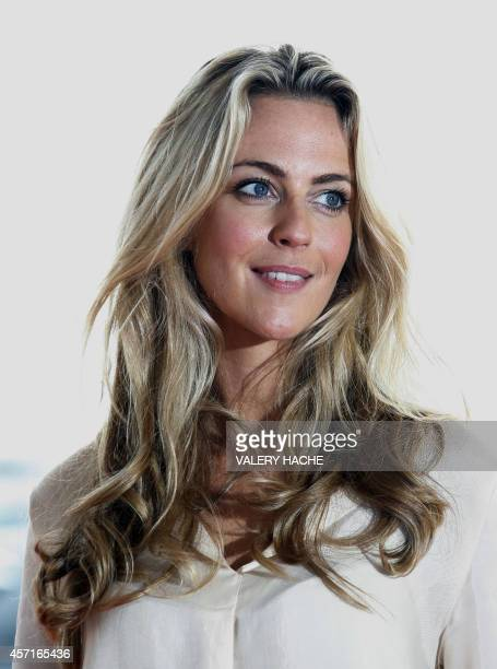 British actress Miranda Raison poses during a photocall for the TV serie Spotless as part of the MIPCOM on October 13 2014 in Cannes southeastern...