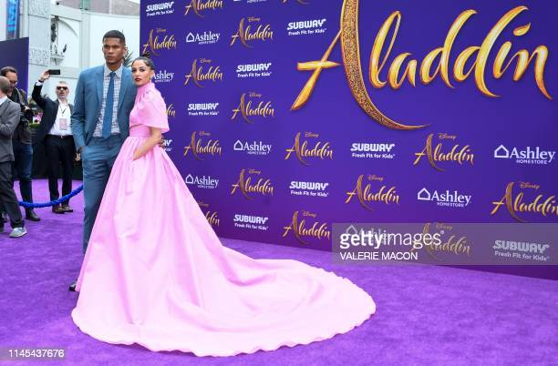 British actress Naomi Scott and British soccer player Jordan Spence attend the World Premiere of Disneys Aladdin at El Capitan theatre on May 21 2019...