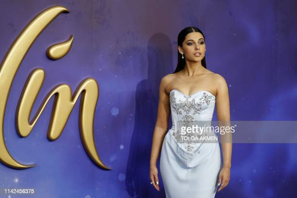 British actress Naomi Scott poses on arrival for the European Gala of Aladdin in central London on May 9 2019