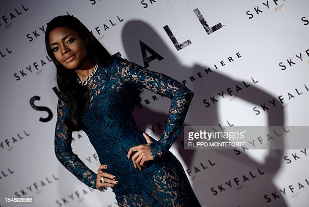 """British actress Naomie Harris poses during the premier of the new James Bond film """"Skyfall"""" on show at Moderno Cinema in Rome's Piazza della..."""