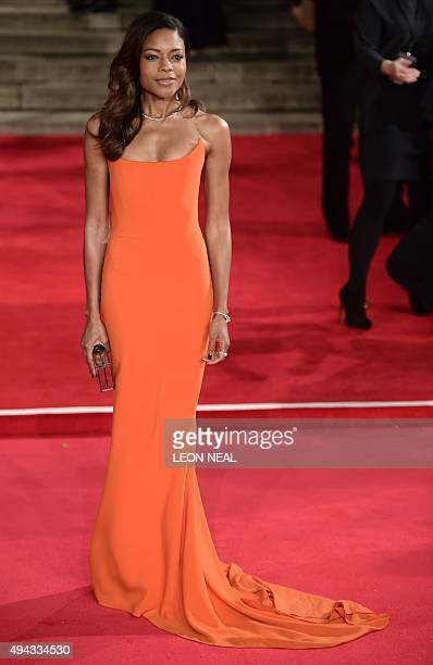 British actress Naomie Harris poses on arrival for the world premiere of the new James Bond film 'Spectre' at the Royal Albert Hall in London on...