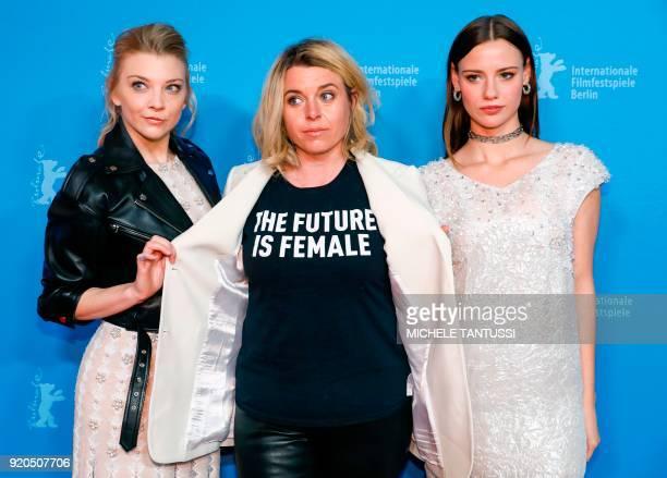 British actress Natalie Dormer Canadian film director Larysa Kondracki and Australian actress Lily Sullivan pose for the Australian series 'Picnic at...