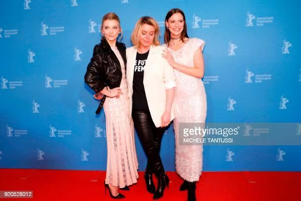 British actress Natalie Dormer Canadian film director Larysa Kondracki and Australian actress Lily Sullivan pose during a photo call upon arrival for...