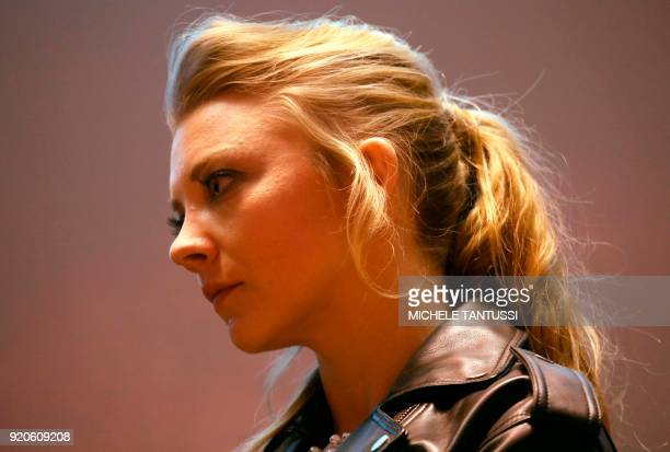 British actress Natalie Dormer looks on prior the screening for the Australian series 'Picnic at Hanging Rock' presented in the section 'Berlinale...