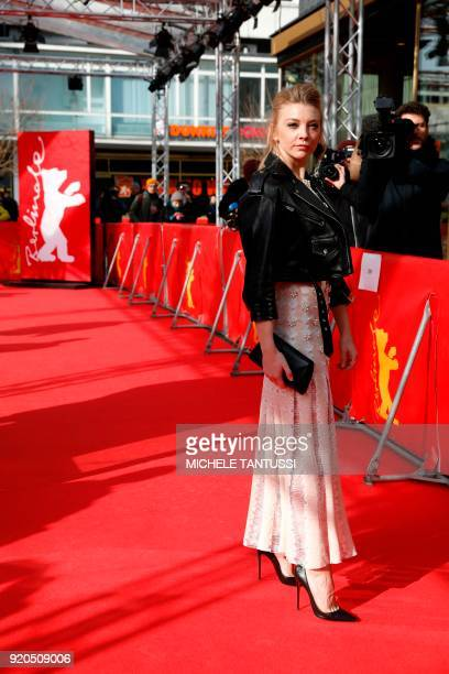 British actress Natalie Dormer poses on the red carpet upon arrival for the premiere of the series 'Picnic at Hanging Rock' presented in the section...