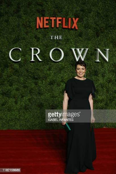 British actress Olivia Colman poses on the red carpet upon arrival for the World premiere of the television series The Crown Series 3 in London on...