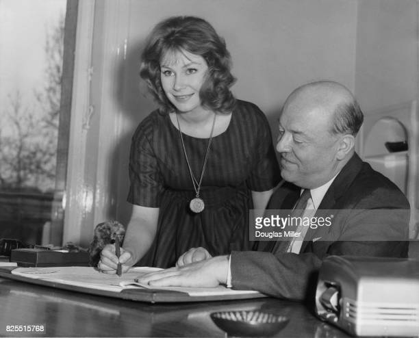 British actress Penelope Horner signs a seven year film contract with film producer Sydney Box in London 2nd March 1959