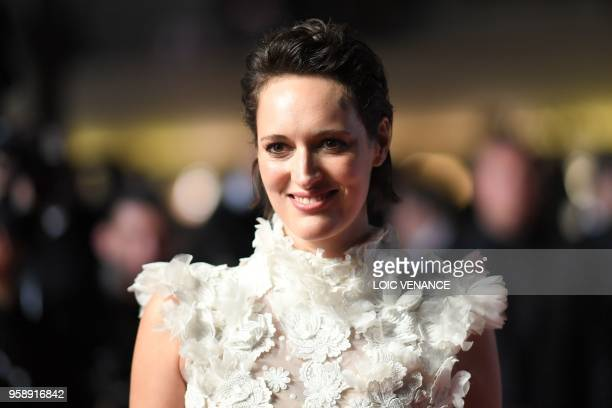British actress Phoebe WallerBridge poses as she leaves the Festival Palace on May 15 2018 after the screening of the film Solo A Star Wars Story at...