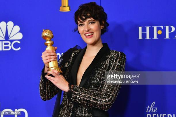British actress Phoebe Waller-Bridge poses in the press room with the award for Best Performance by an Actress in a Television Series - Musical or...