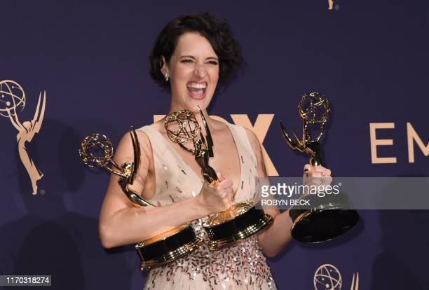 TOPSHOT British actress Phoebe WallerBridge poses with the Emmy for Outstanding Writing for a Comedy Series Outstanding Lead Actress In A Comedy...