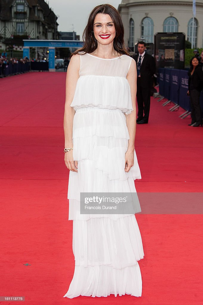 British actress Rachel arrives for the premiere of the film 'The Bourne Legacy' during 38th Deauville American Film Festival on September 1, 2012 in Deauville, France.