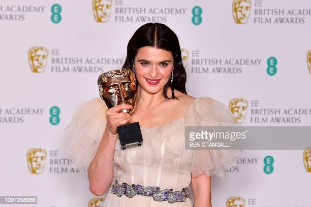 British actress Rachel Weisz poses with the award for a Supporting Actress for her work on the film 'The Favourite' at the BAFTA British Academy Film...