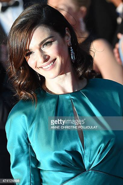British actress Rachel Weisz smiles before leaving the Festival palace after the screening of the film Youth at the 68th Cannes Film Festival in...