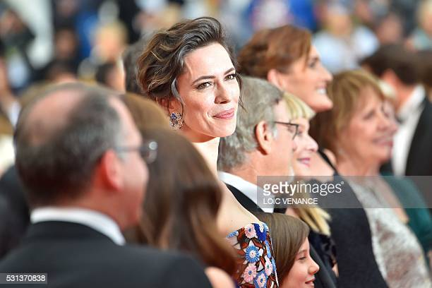 TOPSHOT British actress Rebecca Hall poses on May 14 2016 as she arrives for the screening of the film The BFG at the 69th Cannes Film Festival in...