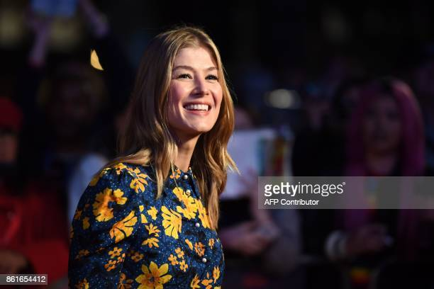 British actress Rosamund Pike poses on the red carpet attending the UK premiere of the film Three Billboards Outside Ebbing Missouri during the...